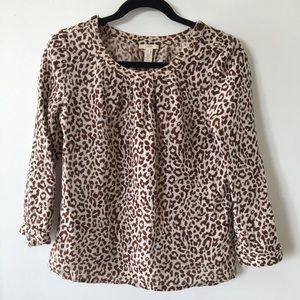 .J.Crew leopard print linen blouse.